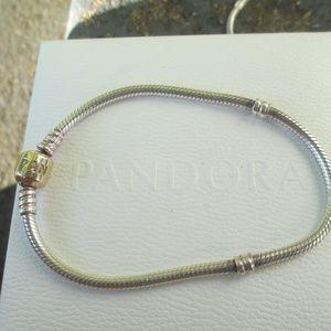 """Pandora Charm Bracelet w/ 14k Gold clasp READ 7.9"""""""